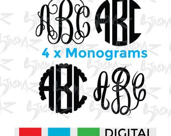 4 Monogram Bundle, New Vine, New Circle, Master Circle & Scalloped, Cutting file download SVG, EPS, DXF, Silhouette Cameo or Cricut
