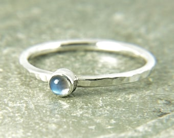 moonstone silver stacking ring, Dainty, thin, hammered band with rainbow moonstone gemstone