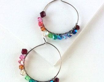 Rainbow Hoop Earrings - Swarovski Crystal