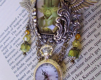 Steampunk Star Wars (P614) Yoda Tribute Brooch - Image Under Glass Cameo - Faux Pocket Watch Pendant - Crystal Dangles - Silver Framework