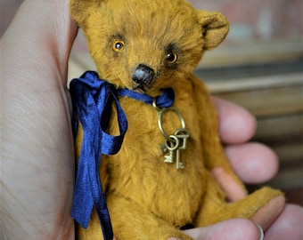 Artist Teddy Bear Mason 4.5 inches Artist Teddy Toy NadyaBears OOAK Artist Teddy Bear Mohair Mini Teddy Bear Miniature Teddy Bear