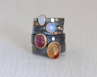 Pink Tourmaline Ring in Recycled Sterling Silver and 14k Gold Size 7.5