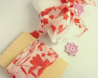 Torn Edge Cotton Ribbon - Pink and White Floral Ribbon - Raw Edge Gift Wrap