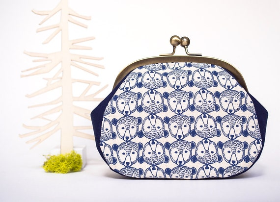 Bears Large Coin Purse, Kiss Lock Purse, Metal Frame Bag, Clutch with Strap, Japanese Fabric, Kawaii Purse, Money Pouch, Gifts for her