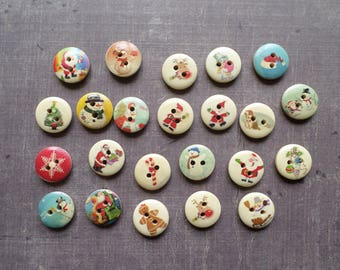 30 buttons Christmas pattern wood party 1.5 cm