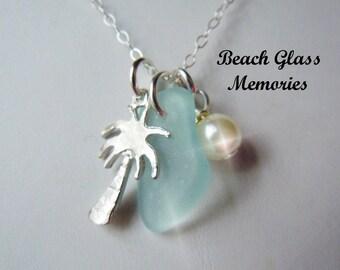 Sea Glass Necklace Palm Tree Beach Glass Necklace  Beach Glass Jewelry