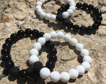 Black and White Aromatherapy Essential Oil Diffuser Bracelet Set