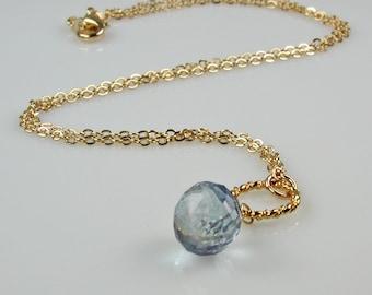 Mystic Topaz and Gold Pendant Necklace Light Blue