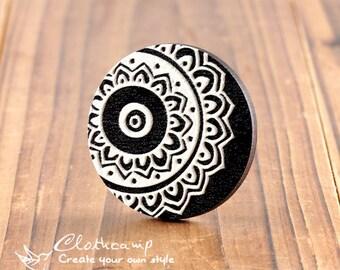 20% off -2Pcs 45mm Unique 3D Embossed Big Round Handmade Flower Wood Cut Cabochon  to make Necklaces, Bracelets-(WI-B-7)