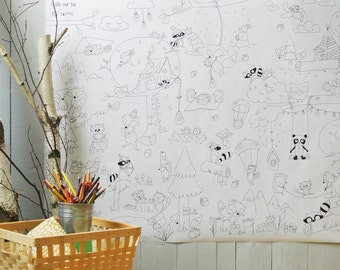 Woodland, Giant coloring poster, Giant coloring, kids game, coloring, poster, kids, black and white, decor