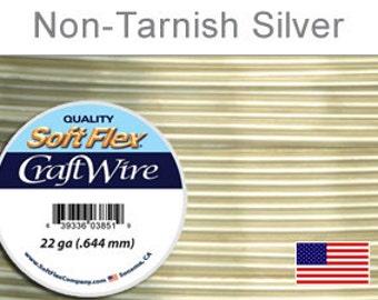 22 Gauge Silver Non Tarnish Wire, Silver Plated Wire, Round, Soft Flex, Supplies, Findings, Craft Wire