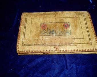 Antique 40s Leather Wallet Souvenir Casablanca  Middle Eastern Accessory