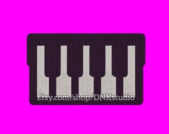 Piano Keyboard Embroidery Design - 6 Sizes - INSTANT DOWNLOAD