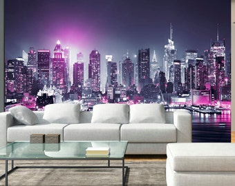 skyline wall decal etsy