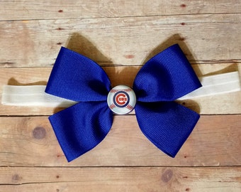chicago cubs headband-newborn cubs headband-chicago Cubs headband for toddler-chicago cubs hair bow-chicago cubs hair clip-chicago cubs