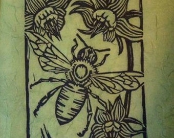 BEE & BORAGE,linocut,honeybee,bees,garden,pollinators,honey,flowers,borage,garden,nature,woodland,handmade,country,blockprint,home decor,art