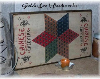 Chinese Checkers Game Board,Primitive, Folk Art, Wall Art