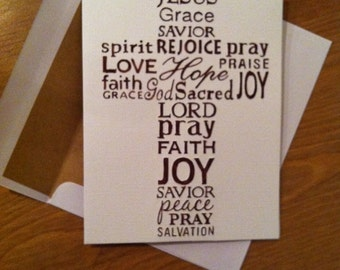 Embossed Cross Handmade Greeting Card//religious//Christian//first communion//confirmation//pastor card//color options