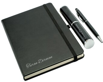 Personalized Notebook and Box Pen Set - Black / Custom Name Engraved