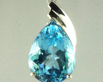 Genuine Pear Shape LARGE Blue Topaz Pendant 20x15MM 18.00CTS .925 Sterling Silver