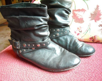 1980's Punk FAUX Leather Slouch Boots, Ankle Boots