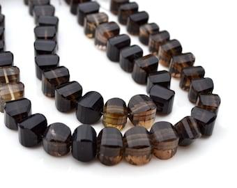 Natural Smokey Quartz Faceted Pumpkin Beads  6