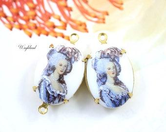Vintage Marie Antoinette Oval Set Stones Connectors Charms Pendant Blue White 18x13mm - 2