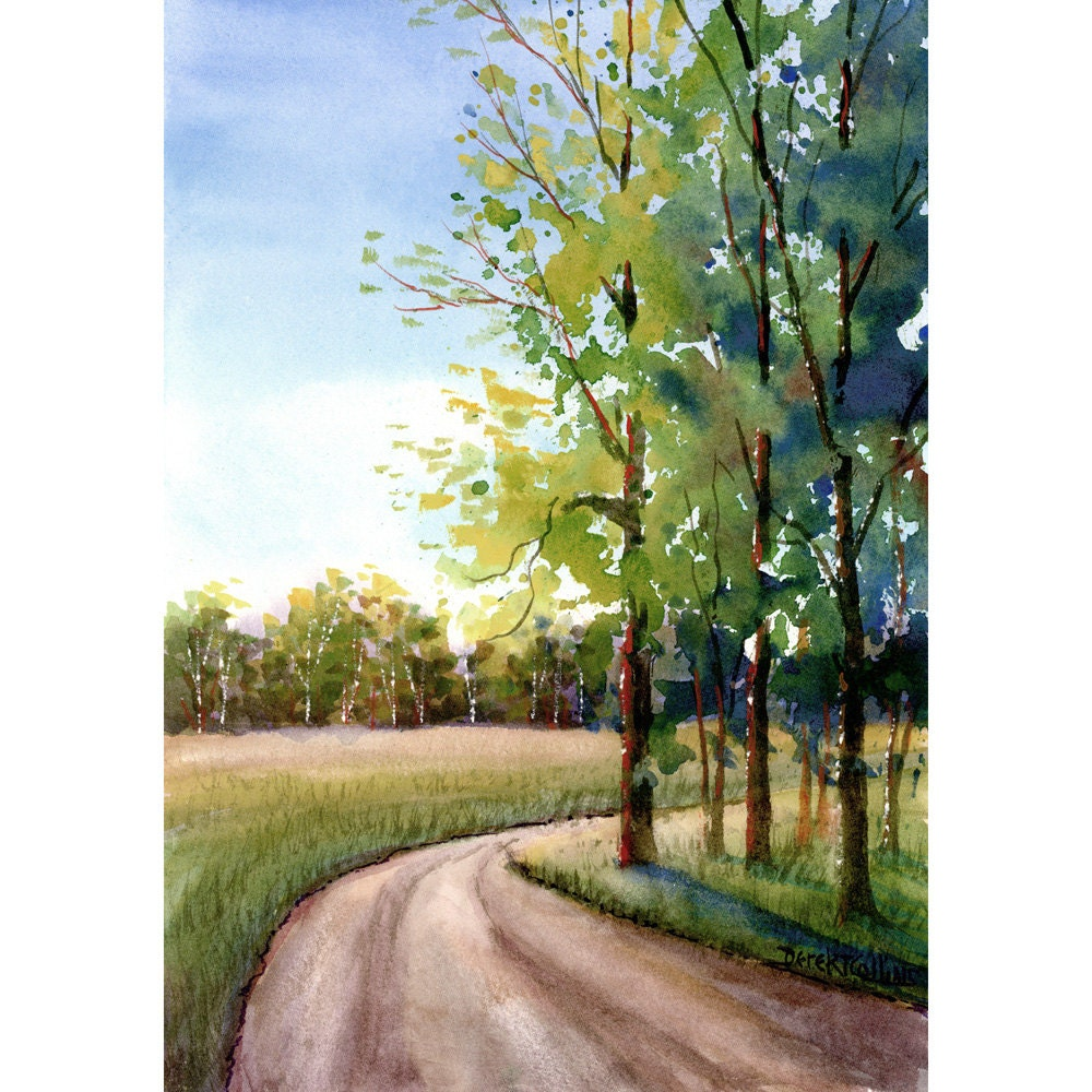 Watercolor landscape Painting PRINT country road Summer 4 Four