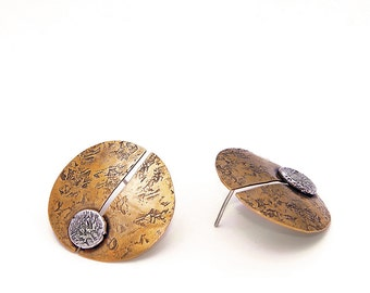 Focus Disk Post Earrings, Textured Brass Disks with Sterling Silver Accents