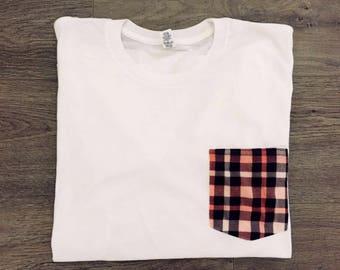 Plaid Pocket Tee | Women's Pocket T-Shirt | Pink Plaid White Tee