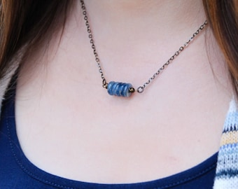 know your truth . five deep breaths kyanite necklace