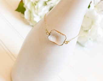 Crystal Quartz Bracelet, Charm Bracelet, Gold Chain Bracelet