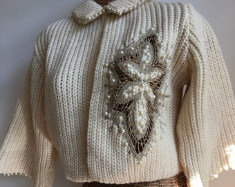Vintage very rare 1960's cream embellished pearl medallion detail sweater