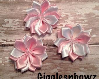 "Small Satin Pinwheel Pink/White Flowers- You Choose Quantity- DIY Headband Supplies- 1.5"" Flowers- Wedding Supplies- Fabric Flowers- Diy"
