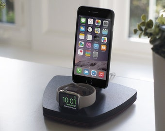 NytStnd DUO 1 Midnight - FREE SHIPPING Dock Charging Station Wireless for iPhone X 8 Apple Watch Oak Maple Wood Valentine Birthday Gift