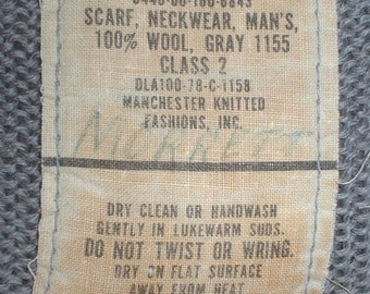 US Navy USN all-wool gray scarf neckwear, Manchester 1978
