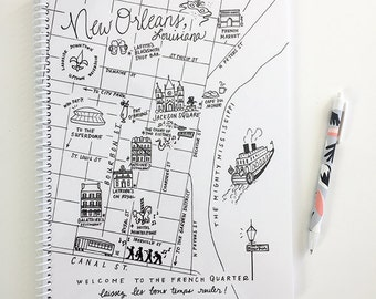 Large New Orleans, Louisiana Map Spiral Bound Journal Notebook