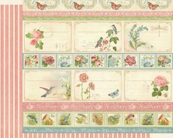 Graphic 45, Botanical Tea, Hello Friend, 12 x 12 Paper Single Sheet, Retired, Floral