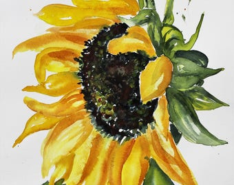 Sunflower Watercolor PRINT, flower painting, floral painting, wall hanging