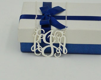 """1.25"""" Sterling silver Monogrammed necklace,Personalized Christmas gifts for women,you can custom any initials"""