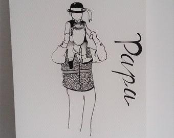 Affiche unique, Papa, dessin encre, bretagne, encre noire, illustration pere fils, cadeau papa, cadeau père, affiche papa, breton,