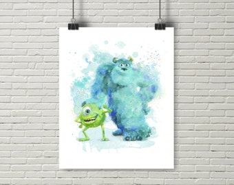 Mike and Sulley Monsters, Mike Wazowski Print, Sulley Print, Monsters watercolor, Monsters wall decor, Monsters Art, Monsters party, nursery