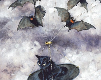 "Greeting Card, ""Batmobile"" by Maggie Vandewalle, 5"" x 7' blank card, envelope"