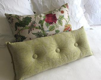 LEMONGRASS accent lumbar throw Bolster Pillow with buttons 11X26