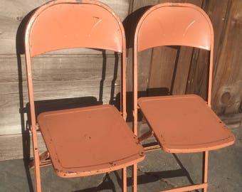 Vintage Metal Folding Chairs, Pair