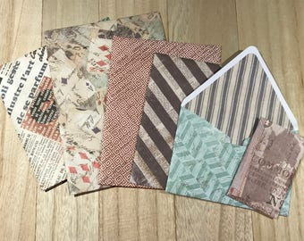 Six assorted lined envelopes