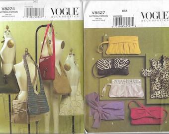 Vogue 8527 & 8274 Uncut Purse Bag Handbag Clutch Sewing Pattern Lot of 2