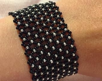 Netted Seed Bead Bracelet - Wide