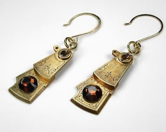 Steampunk Jewelry Earrings Vintage GOLD Watch Parts Etched Topaz Swarovski Wedding Anniversary, Everyday Earrings - Jewelry by edmdesigns