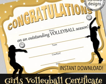 "Girls Volleyball Certificate, Instant Download, Print Your Own, 8.5x11"" Digital Files"